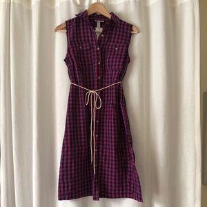 Plaid button down maternity/nursing dress
